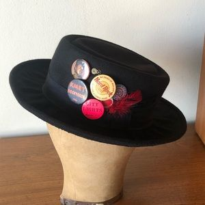 Vintage 80's Black Hat with Pin Back Buttons Cool!